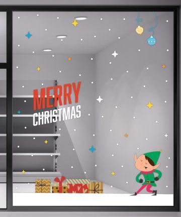 Χριστουγεννιάτικο Αυτοκόλλητο Santa Claus - Χριστουγεννιάτικη Διακόσμηση βιτρινών καταστημάτων