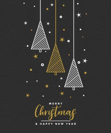 Αυτοκόλλητο Χριστουγεννιάτικο Κρεμαστά Δέντρα με κείμενο Merry Christmas & Happy New Year - Χριστουγεννιάτικη Διακόσμηση βιτρινών καταστημάτων