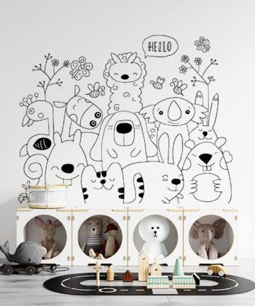 Αυτοκόλλητο Τοίχου Ζωάκια. Μεταμορφώστε το παιδικό δωμάτιο απλά, γρήγορα και οικονομικά με ένα αυτοκόλλητο τοίχου!