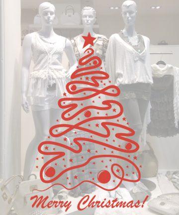 Χριστουγεννιάτικο Αυτοκόλλητο Δέντρο - Έλατο - Αυτοκόλλητα για Χριστουγεννιάτικες Βιτρίνες σε Καταστήματα