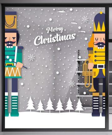 Χριστουγεννιάτικο Αυτοκόλλητο - Μολυβένια Στρατιωτάκια - Χριστουγεννιάτικη Βιτρίνα