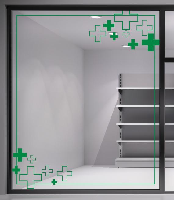 Αυτοκόλλητο Βιτρίνας Φαρμακείου - Διακόσμηση της βιτρίνας του φαρμακείου εύκολα και οικονομικά με αυτοκόλλητα