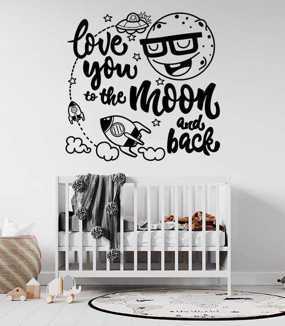 Αυτοκόλλητο Τοίχου I Love you to the Moon and Back. Μεταμορφώστε το παιδικό δωμάτιο απλά και γρήγορα με ένα τεράστιο διαστημικό αυτοκόλλητο τοίχου!
