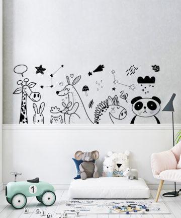 Αυτοκόλλητο Τοίχου με ζωάκια. Γεμίστε τον τοίχο του παιδικού δωματίου με γλυκές καμηλοπαρδάλεις, καγκουρό και κοάλα!